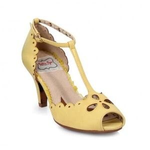 Bettie Page Yellow T-Strap Claire Heels